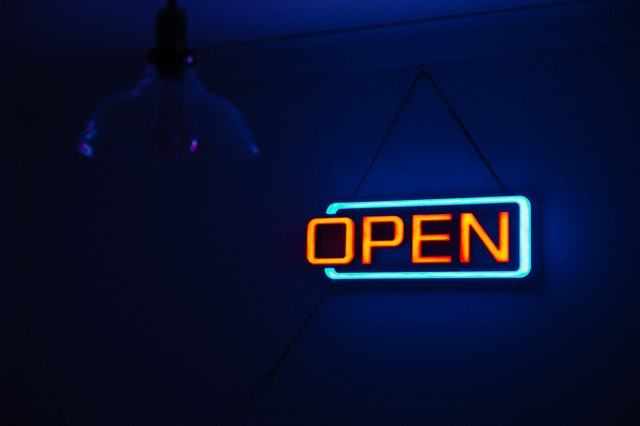 Male friendship. Neon Open Sign.