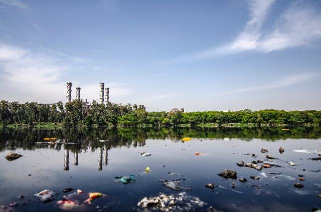 air pollution blue water dawn factory