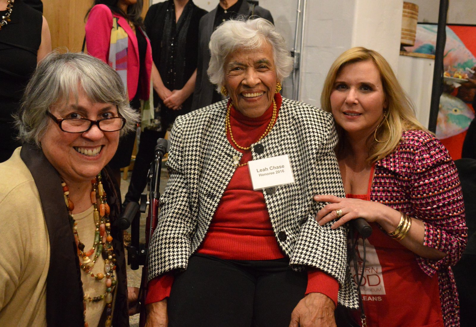 The legendary Chef Leah Chase with SoFAB Director Liz Williams and Director of Culinary Programming, Jyl Benson