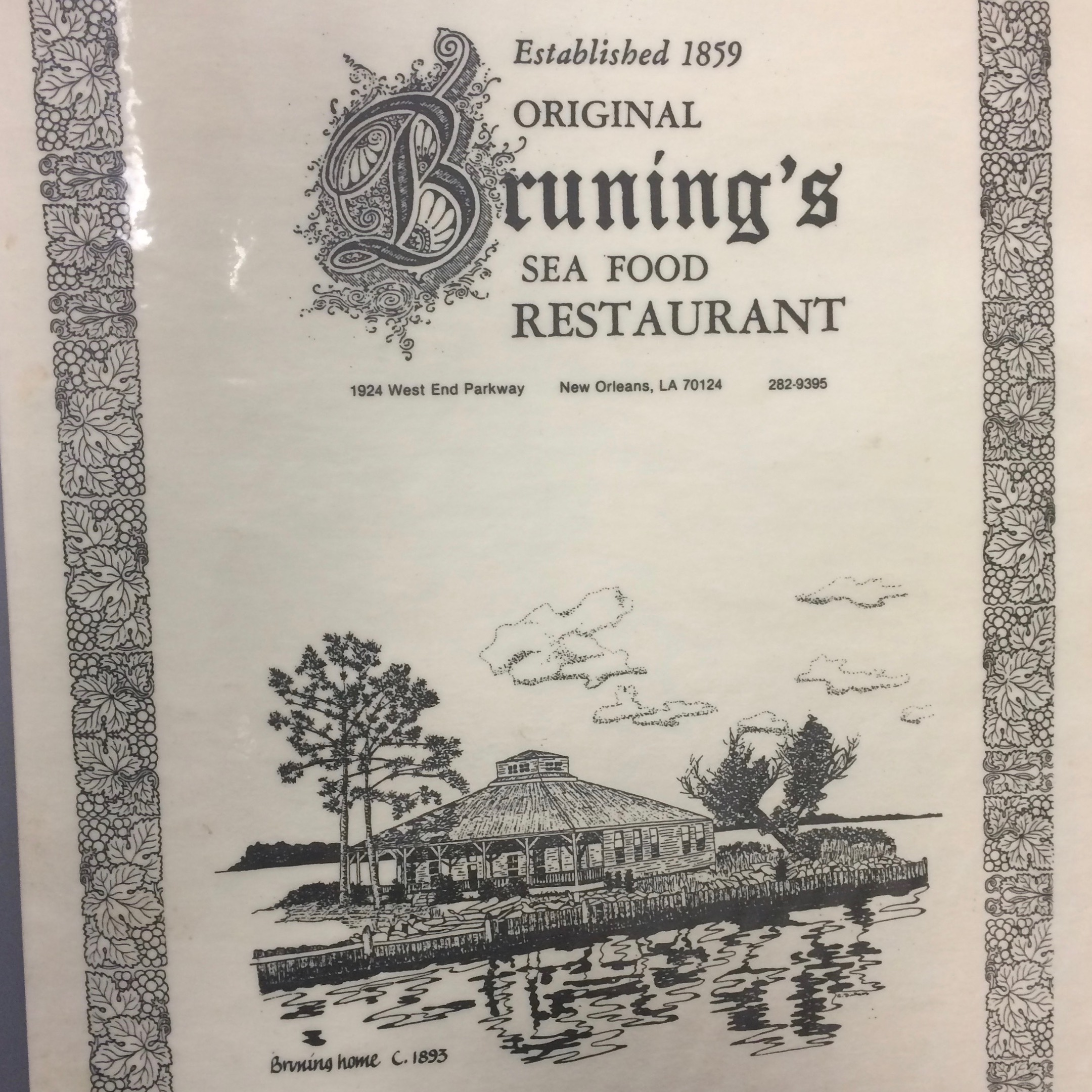 Brunings-Texas Collection - This collection contains materials related to the planning and execution of the Southern Food and Beverage Museum's Texas exhibit and the history of Bruning's Restaurant, including a laminated menu (pictured left).See an item-level PDF finding aid.