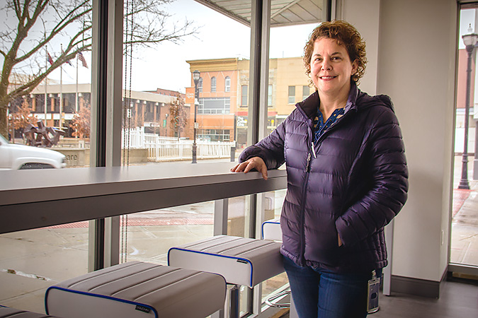 Kelly Quigg, IntrinsiQ's director of technical software support, gives Springfield Business Journal a tour of its first-floor space inside the Heer's building downtown.