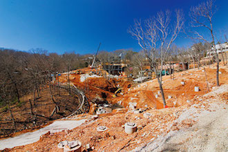 ROLLING ALONG: Construction for what seems to be a roller coaster can be spotted from vantage points near Silver Dollar City's Thunderation.  Photo by Dean Groover