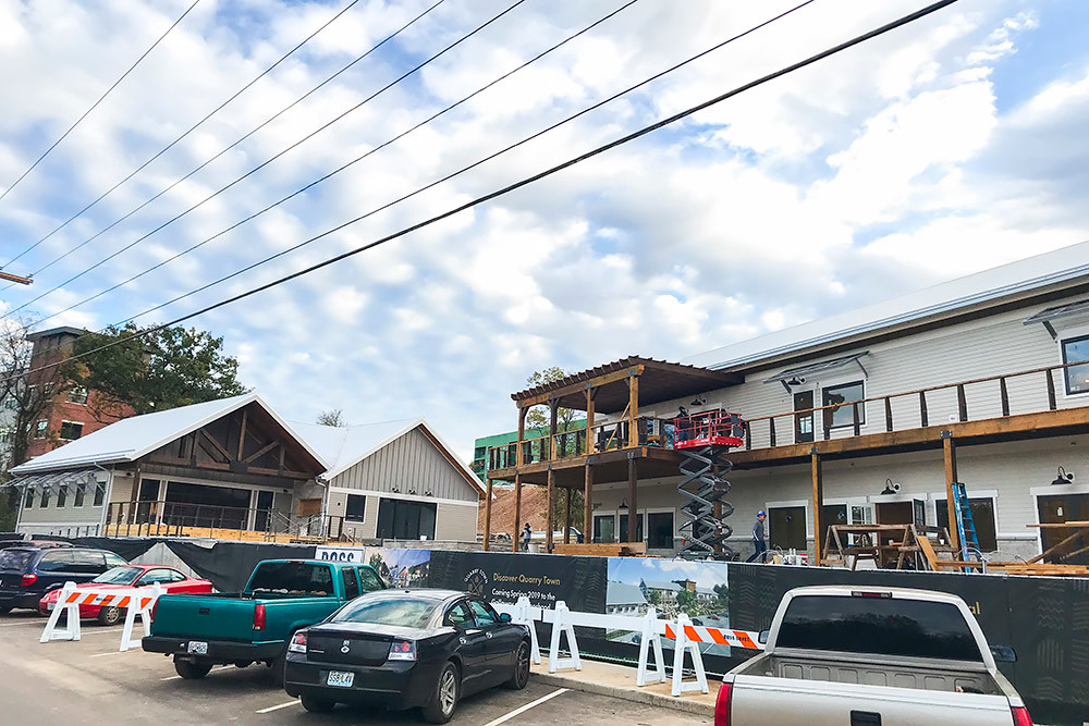 SBJ PHOTO BY ERIC OLSON  Commercial space is expected to be complete by month's end for Green Circle Projects LLC's Quarry Town in Galloway Village.