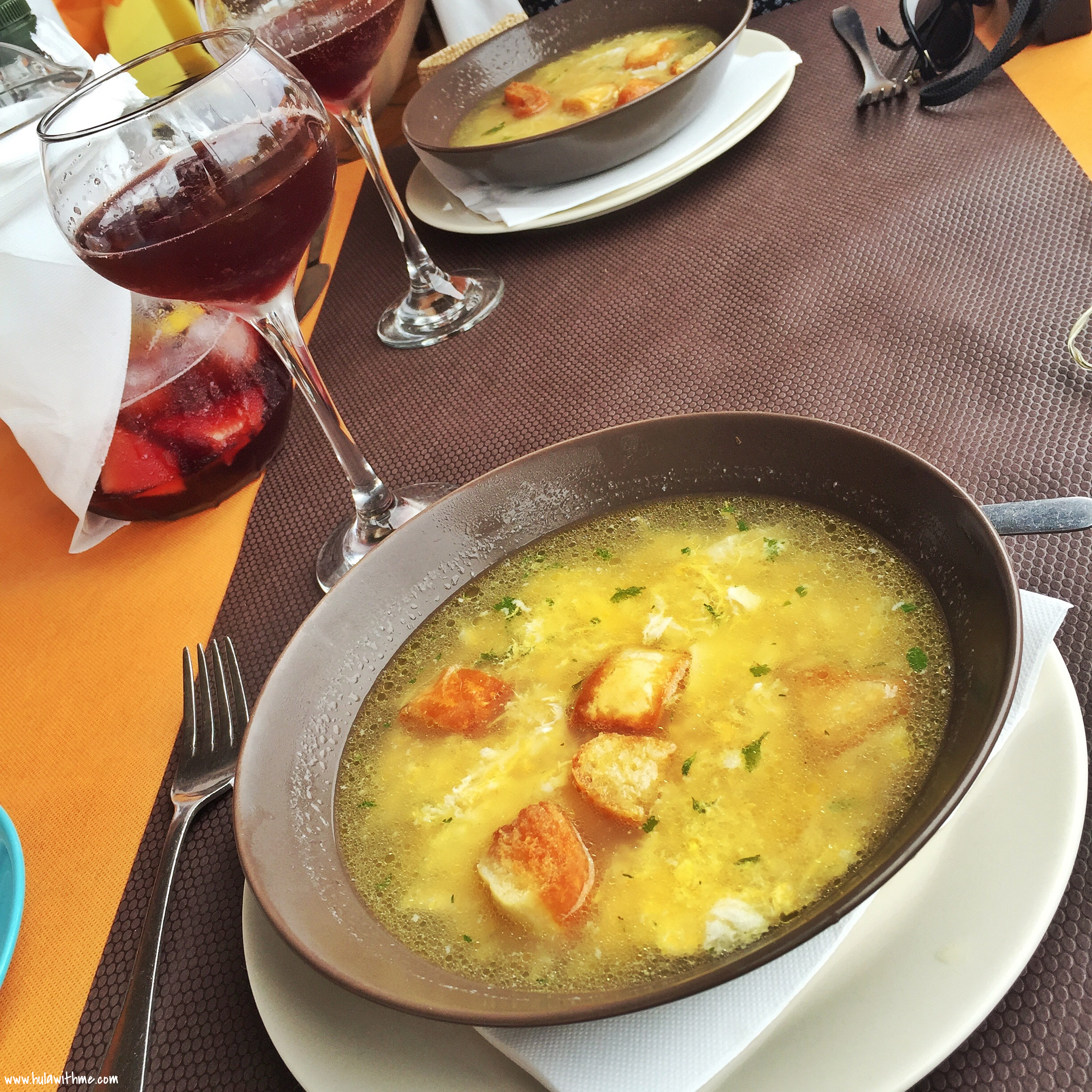Canary Islands Food Finds - O'Fado Portuguese Restaurant. Acorda alentejana - a soup-like dish cooked with garlic, coriander, olive oil, vinegar, eggs, along with sliced bread; a glass of sangria.