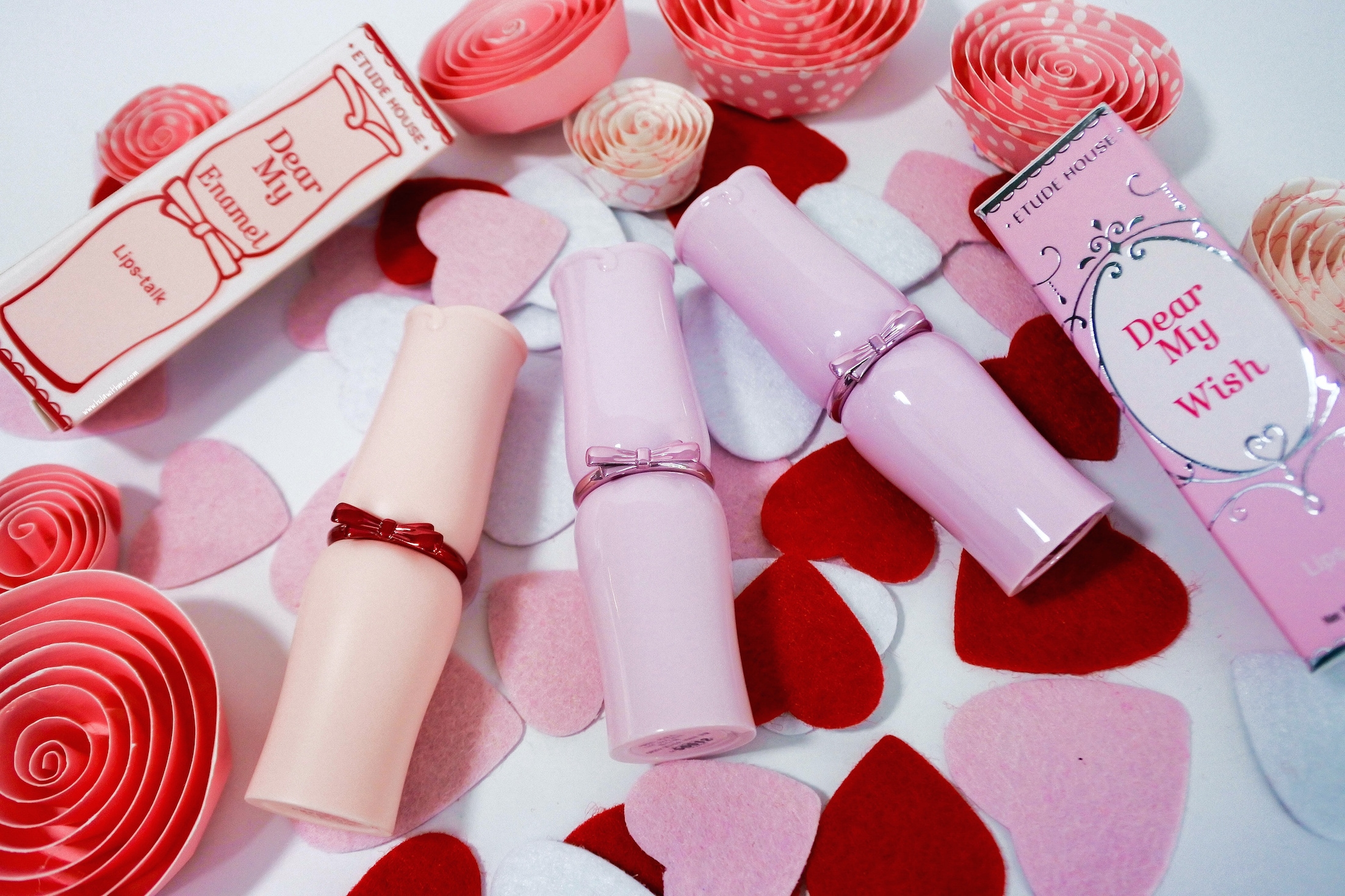 Etude House Dear My Enamel and Dear My Wish Lipsticks.