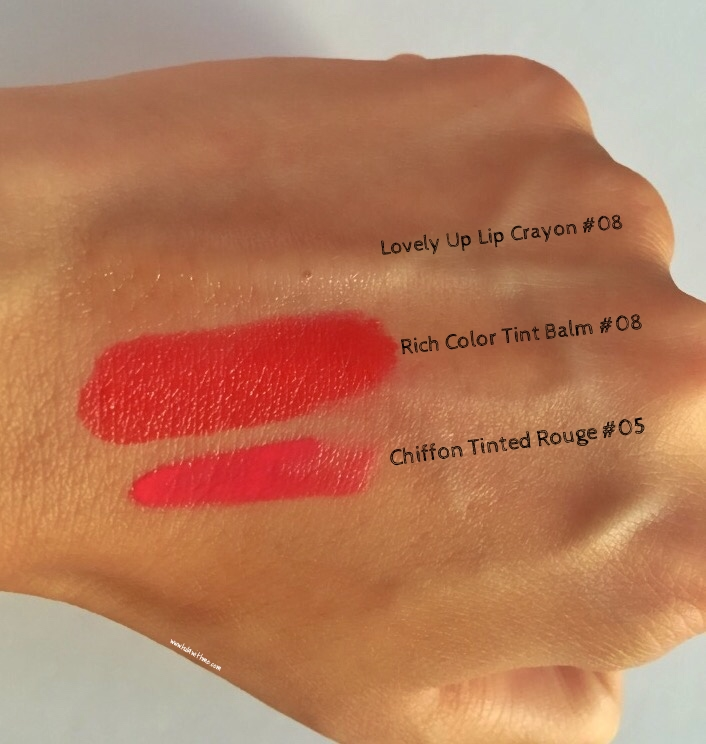 Swatches of lip crayon, lip balm, tinted lip from Beyond Beauty.