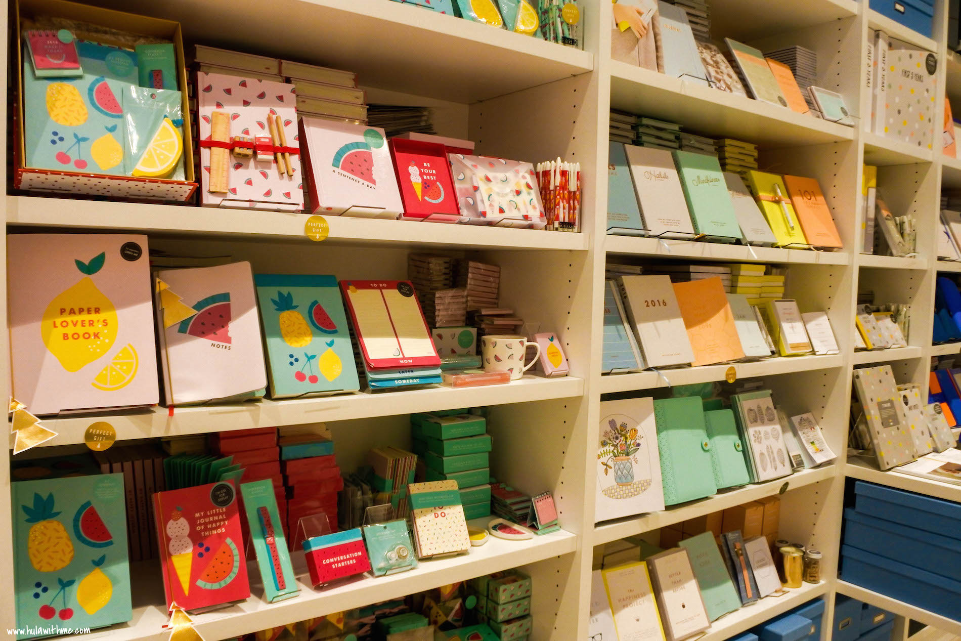 Kikki.K Stationery: Each signature collection is neatly displayed on the shelves.