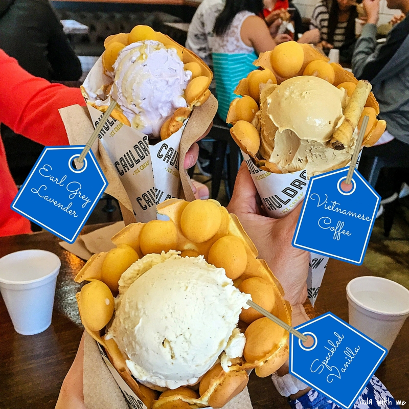 Trying out Puffle Ice Cream from Cauldron Ice Cream in Orange County, CA