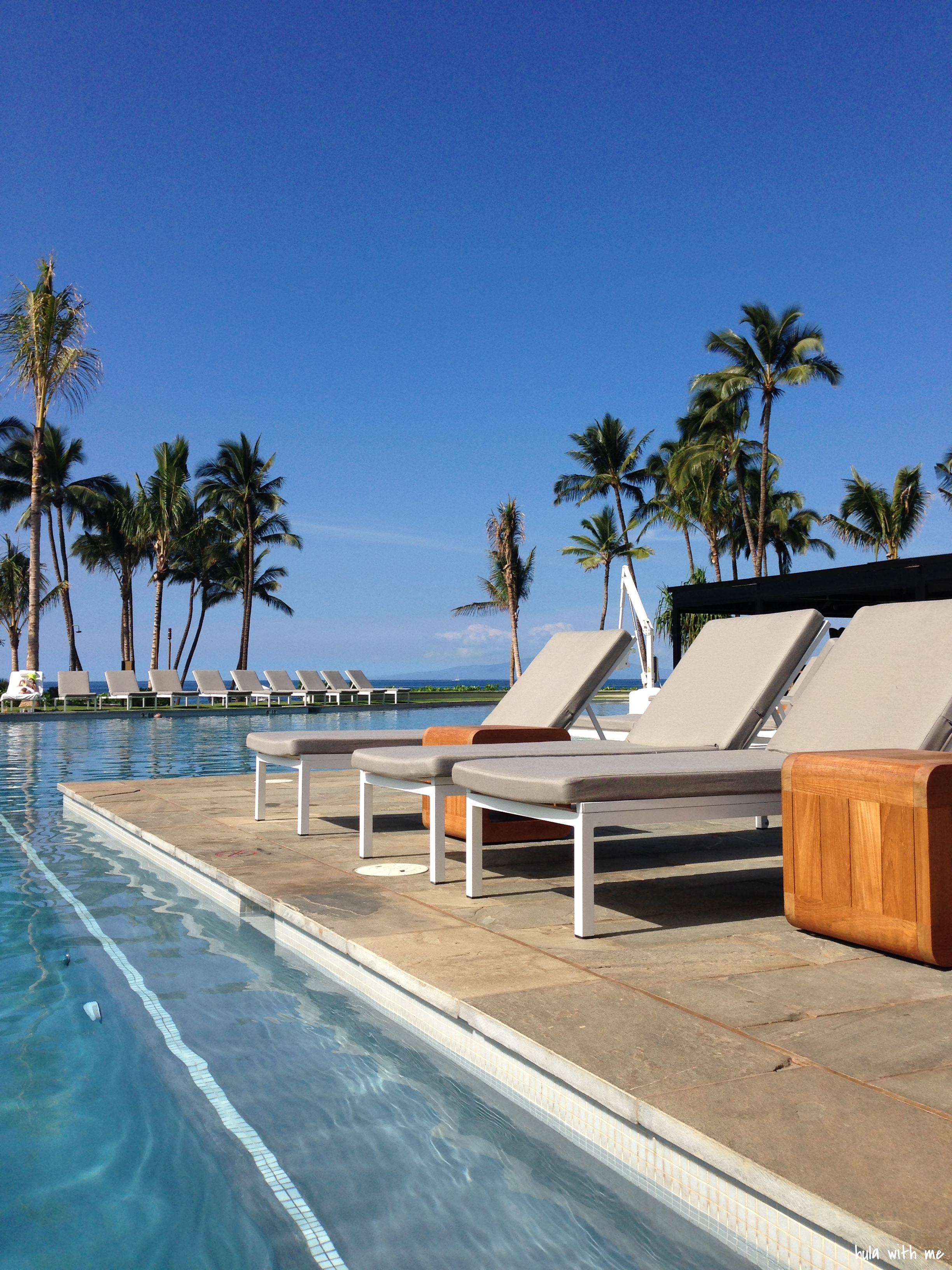 Put some sunscreen on! Poolside at Maui Andaz.