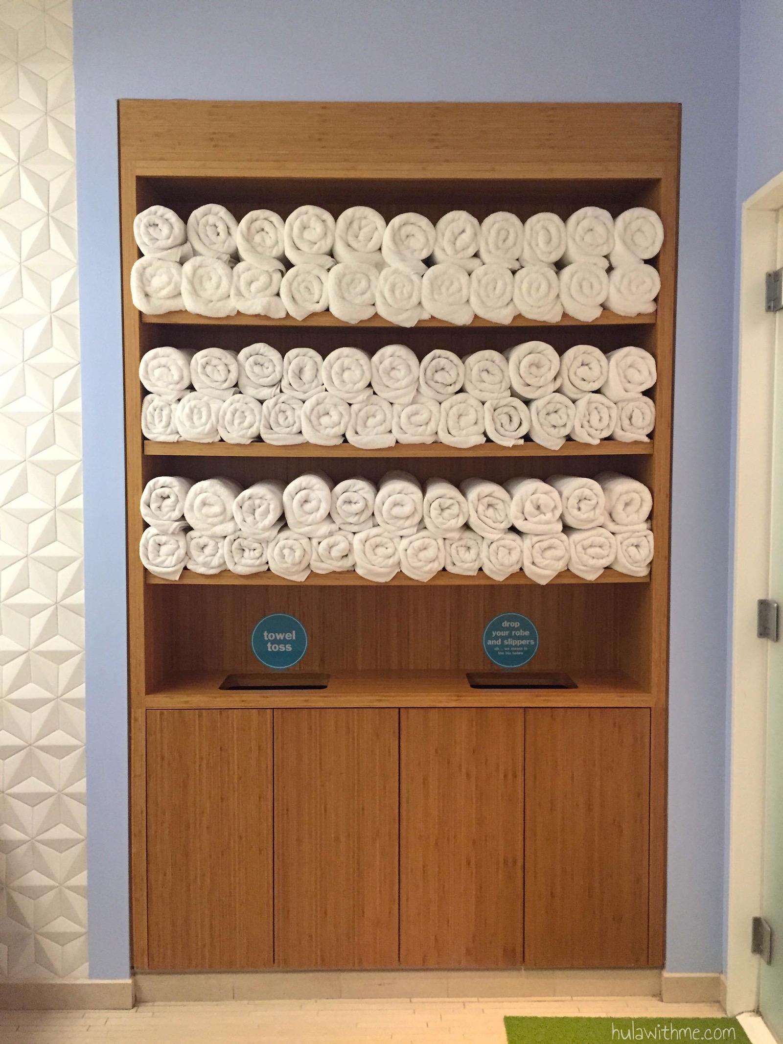 Bliss Spa in Boston, MA: Inside the ladies' locker room.