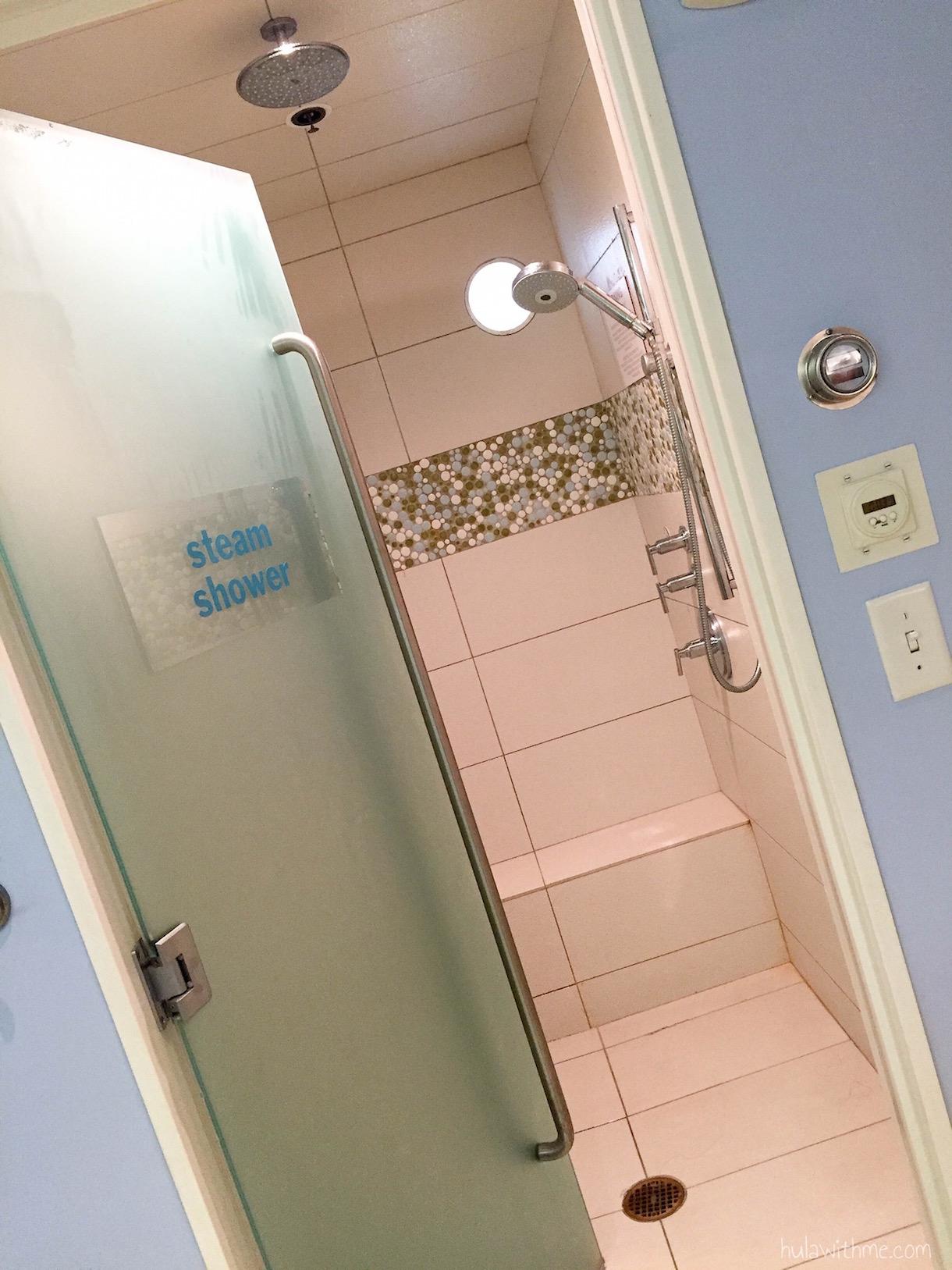 Bliss Spa in Boston, MA: The eucalyptus steam shower inside the ladies' locker room.