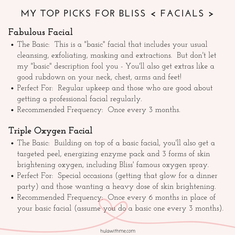 """M  Y     T  O  P     P  I  C  K  S     F  O  R     B  L  I  S  S     <     F  A  C  I  A  L  S     >    F  a  b  u  l  o  u  s     F  a  c  i  a  l   1. The Basic: This is a """"basic"""" facial that includes your usual cleansing, exfoliating, masking and extractions. But don't let my """"basic"""" description fool you - You'll also get extras like a good rubdown on my neck, chest, arms and feet!   2. Perfect For: Regular upkeep and those who are very good about getting a professional facial regularly.  3. Recommended Frequency: Once every 3 months.   T  r  i  p  l  e     O  x  y  g  e  n    F  a  c  i  a  l   1. The Basic: Building on top of a basic facial, you'll also get a targeted peel, energizing enzyme pack and 3 forms of skin brightening oxygen, including their famous O2 spray.  2. Perfect For: Special occasions (getting that glow for a dinner party) and those wanting heavy dose of skin brightening.  3. Recommended Frequency: Once very 6 months (assuming you do a basic facial once very 2 months)."""