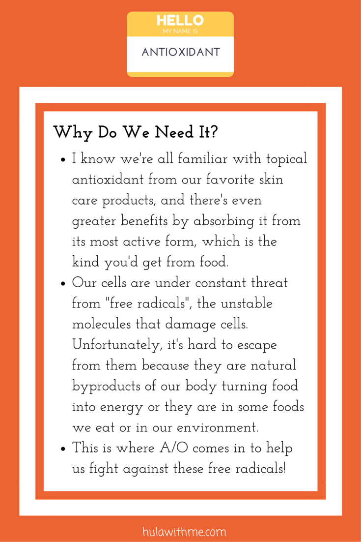 """Skin Health Super Hero Nutrient: Antioxidant  Why Do We Need It?  1. I know we're all familiar with topical antioxidant from our favorite skin care products, and there's even greater benefits by absorbing it from its most active form, which is the kind you'd get from food.  2. Our cells are under constant threat from """"free radicals"""", the unstable molecules that damage cells. Unfortunately, it's hard to escape from them because they are natural byproducts of our body turning food into energy or they are in some foods we eat or in our environment.  3. This is where A/O comes in to help us fight against these free radicals!"""