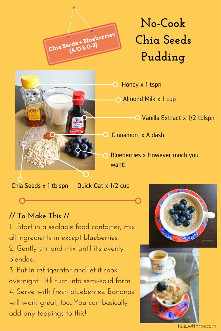 Skin Health Recipe - Chia Seeds Pudding with Chia Seeds & Blueberries (Antioxidant) .   Ingredients:  Honey 1 tspn, almond milk 1 cup, vanilla extract 1/2 tblspn, a dash of cinnamon, blueberries, quick oat 1/2 cup, chia seeds 1 tblspn.  To Make This: 1. Start in a sealable food container, mix all ingredients in except blueberries. 2. Gently stir and mix until it's evenly blended. 3. Put in refrigerator and let it soak overnight. It'll turn into semi-solid form. 4. Serve with fresh blueberries. Bananas will work great, too...You can basically add any toppings to this!