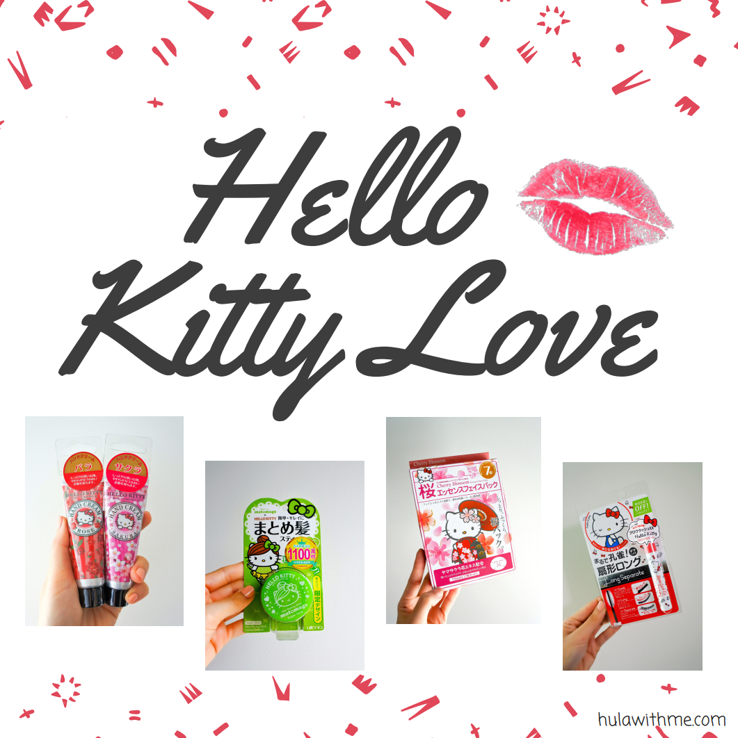 Reviewing Hello Kitty beauty products bought from City Super in Hong Kong - Hand Cream, Hair Styling Stick, Sheet Mask and Mascara.