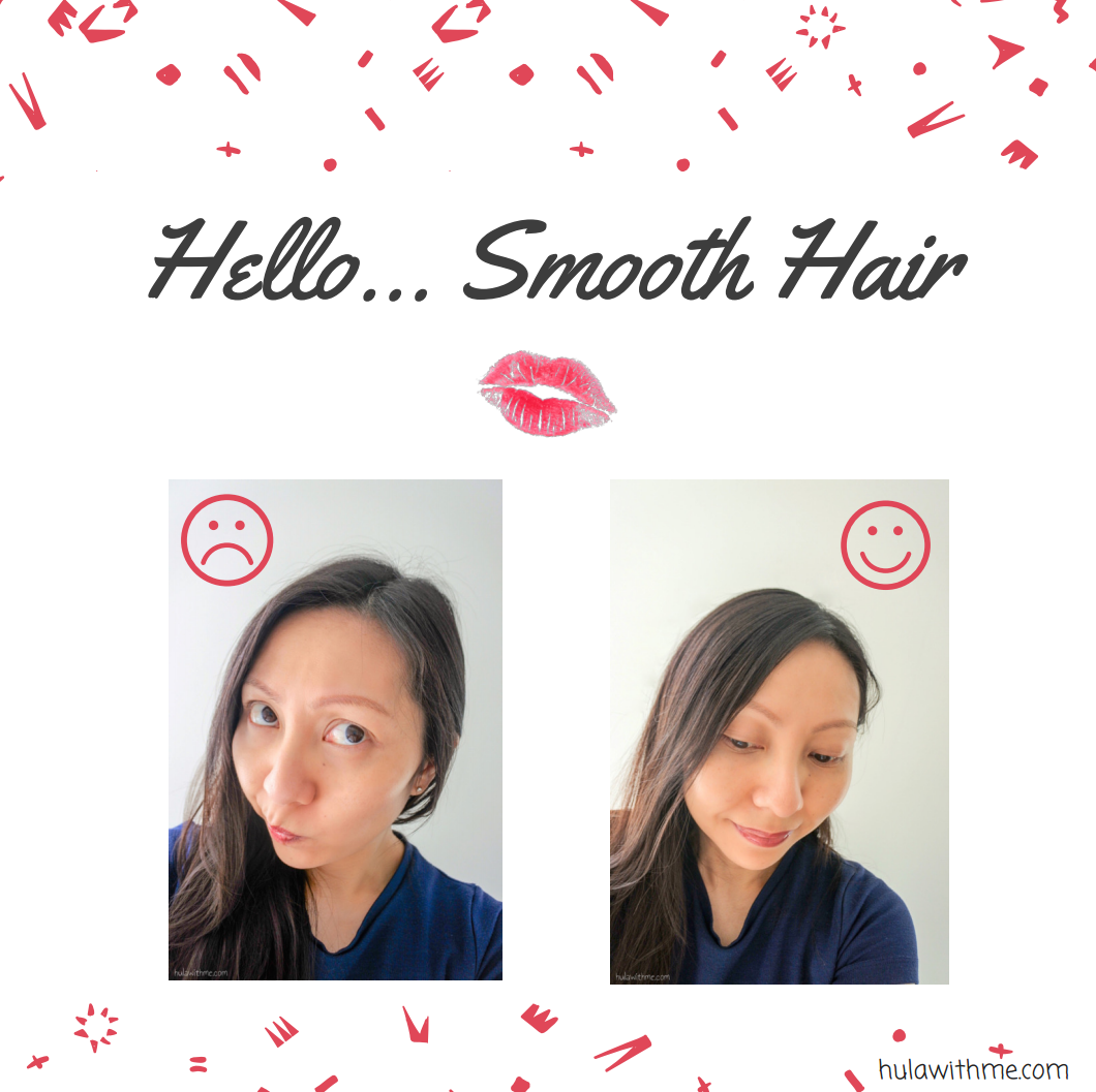 Hello...Smooth Hair // Reviewing Hello Kitty beauty product - Matomage x Hello Kitty Hair Styling Stick Super Hold.  Before and After Use.