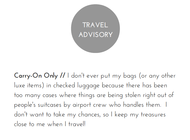 Reviewing the Mulberry Mini Lily and Bayswater Clutch //   How to care for your Mulberry    Carry-On Only // I don't ever put my bags (or any other luxe items) in checked luggage because there has been too many cases where things are being stolen right out of people's suitcases by airport crew who handles them. I don't want to take my chances, so I keep my treasures close to me when I travel!