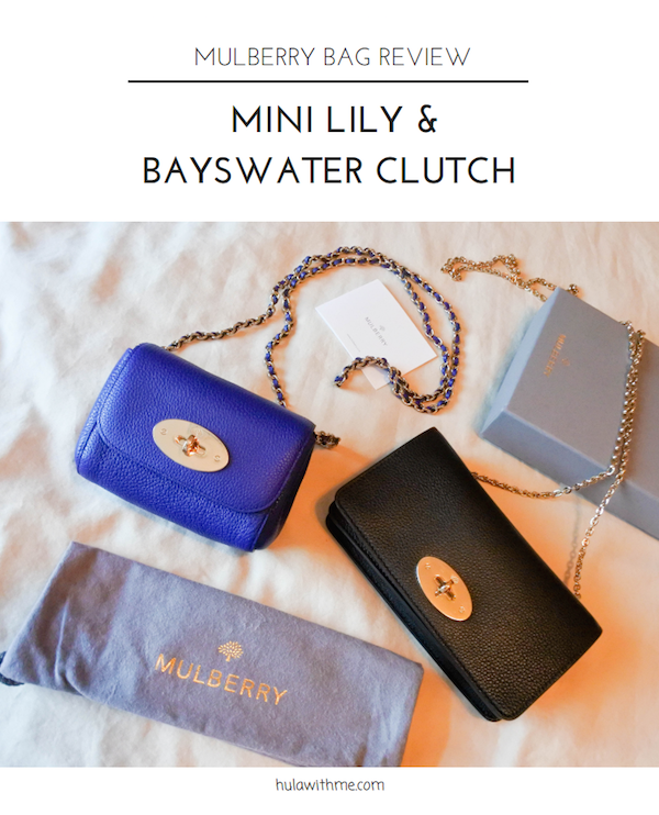 Recent Mulberry purchases // Mini Lily in Neon Blue and Bayswater Clutch in Black.