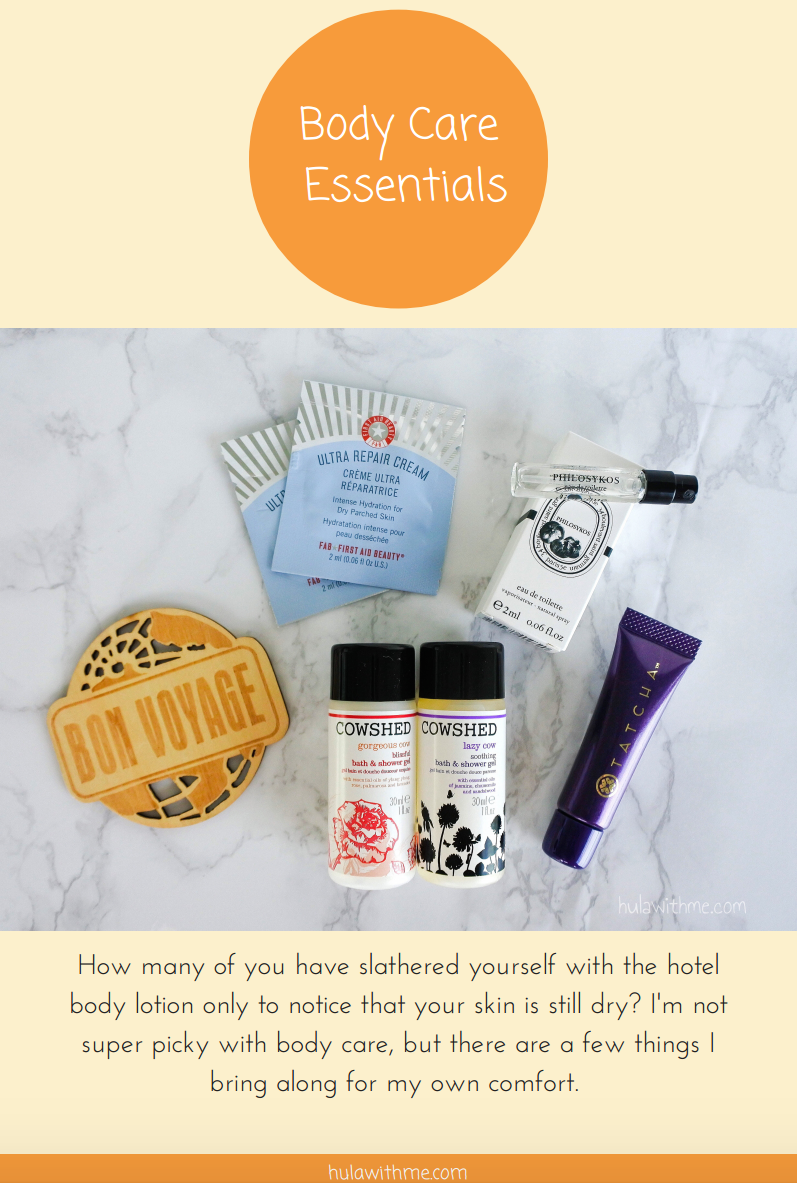 Body Care Travel Essentials   How many of you have slathered yourself with the hotel body lotion only to notice that your skin is still dry? I'm not super picky with body care, but there are a few things I bring along for my own comfort.