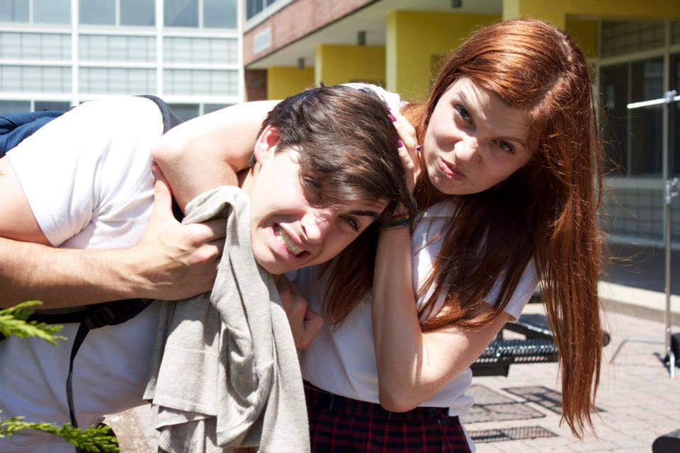 James Kelly (left) and Nicole Palermo (right) have some fun on set
