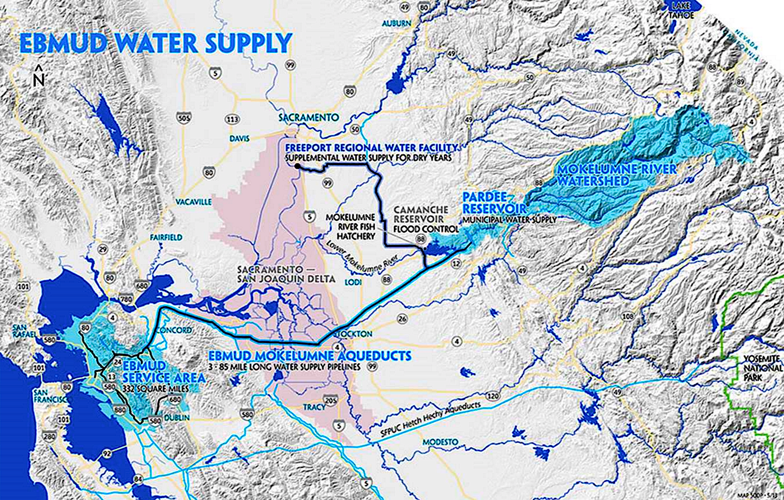 Where East Bay water comes from --- image provided by East Bay Mud
