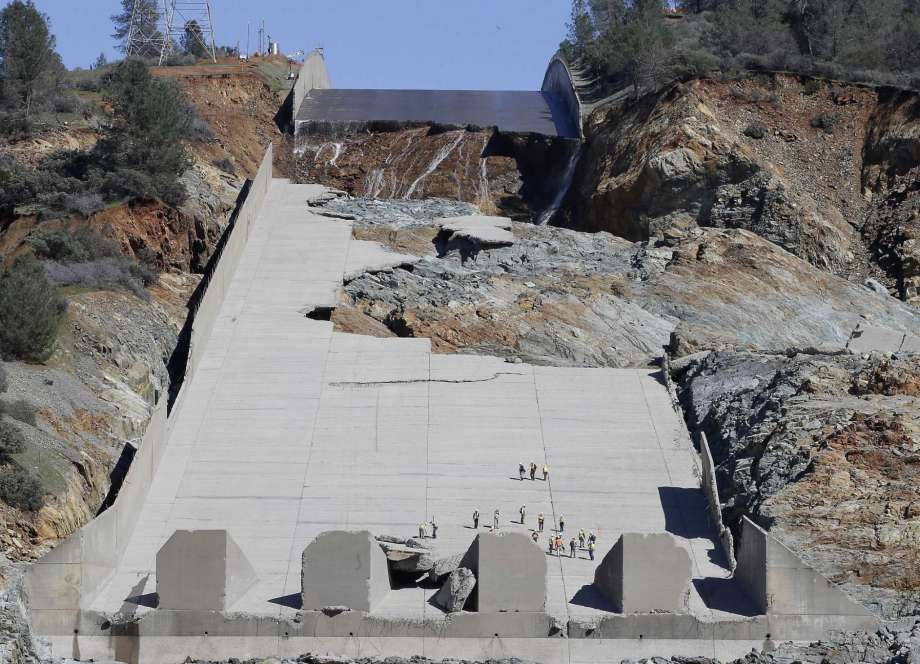 Oroville Dam spillway February 27, 2017 -- Mercury News
