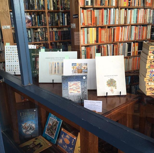 Lovely collection of all my books at Bill Campbell Books in Freo including the new 'Just Scratching the Surface' 50 Year Retrospective Book. #billcampbellbooks #artbooks #australianart #art #books