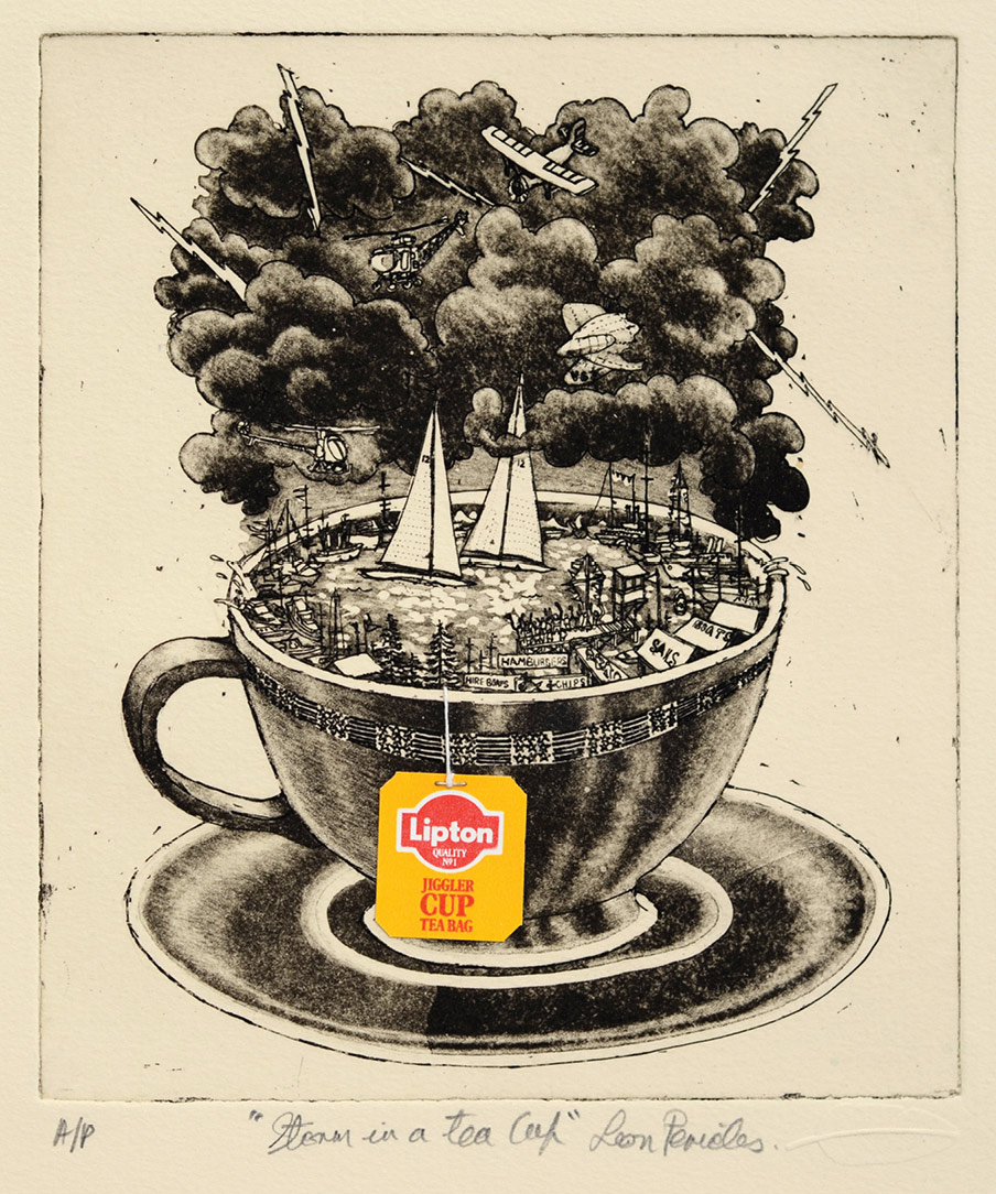 'Storm in a Teacup' - etching by Leon Pericles