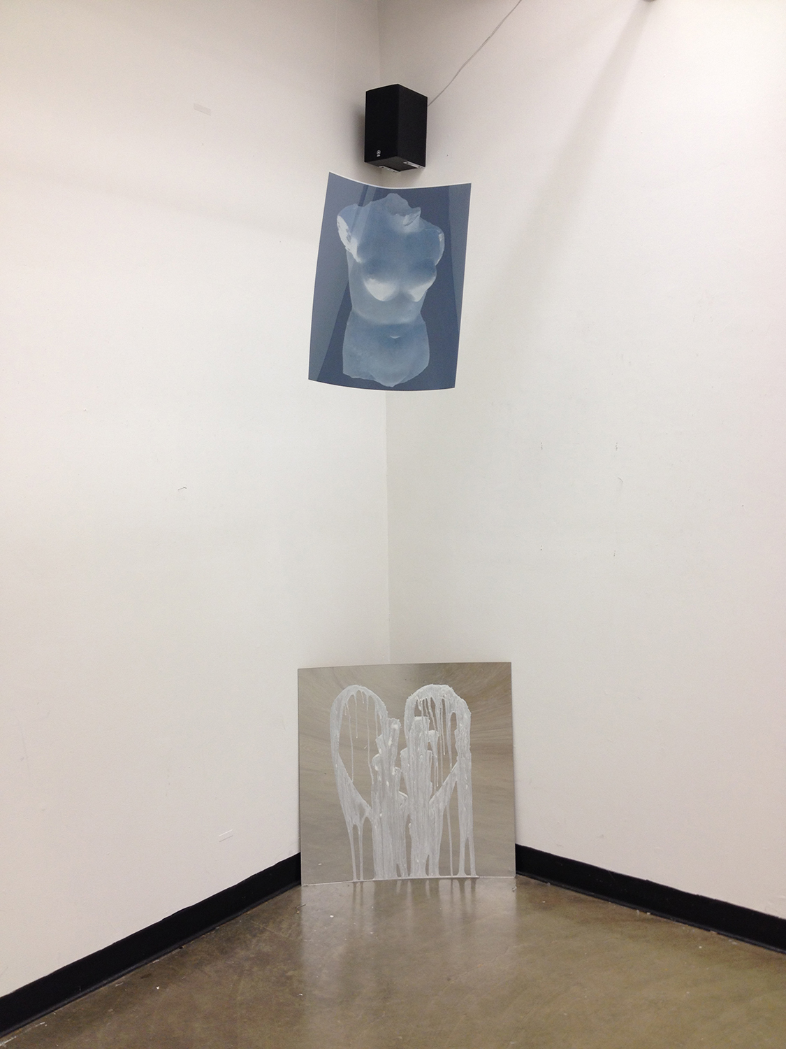 Installation View,  As Fool's Idol is to False Gold,  2014 [369hz tone, whipped cream, warped mirror, photographic negative]