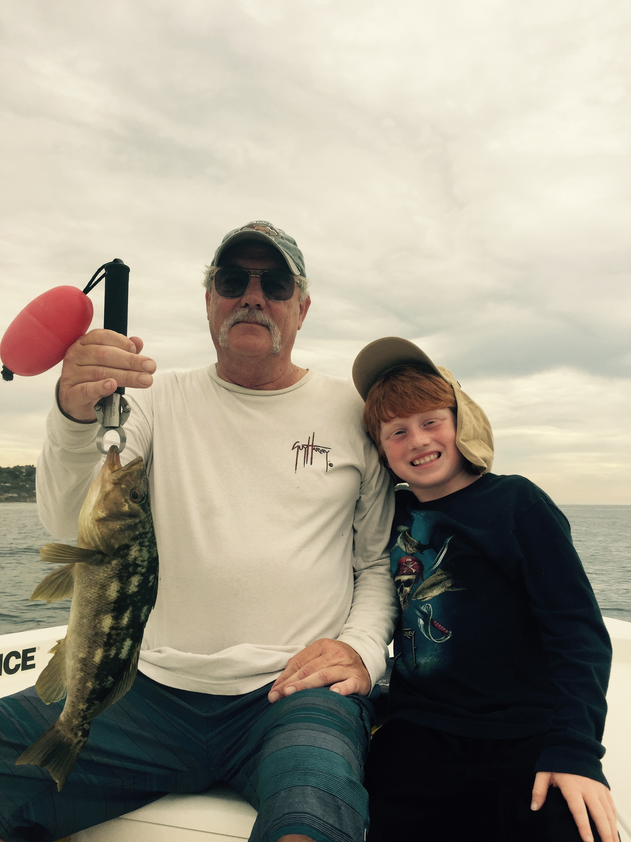 Scott and Hunter with G Pa's nice Calico Bass