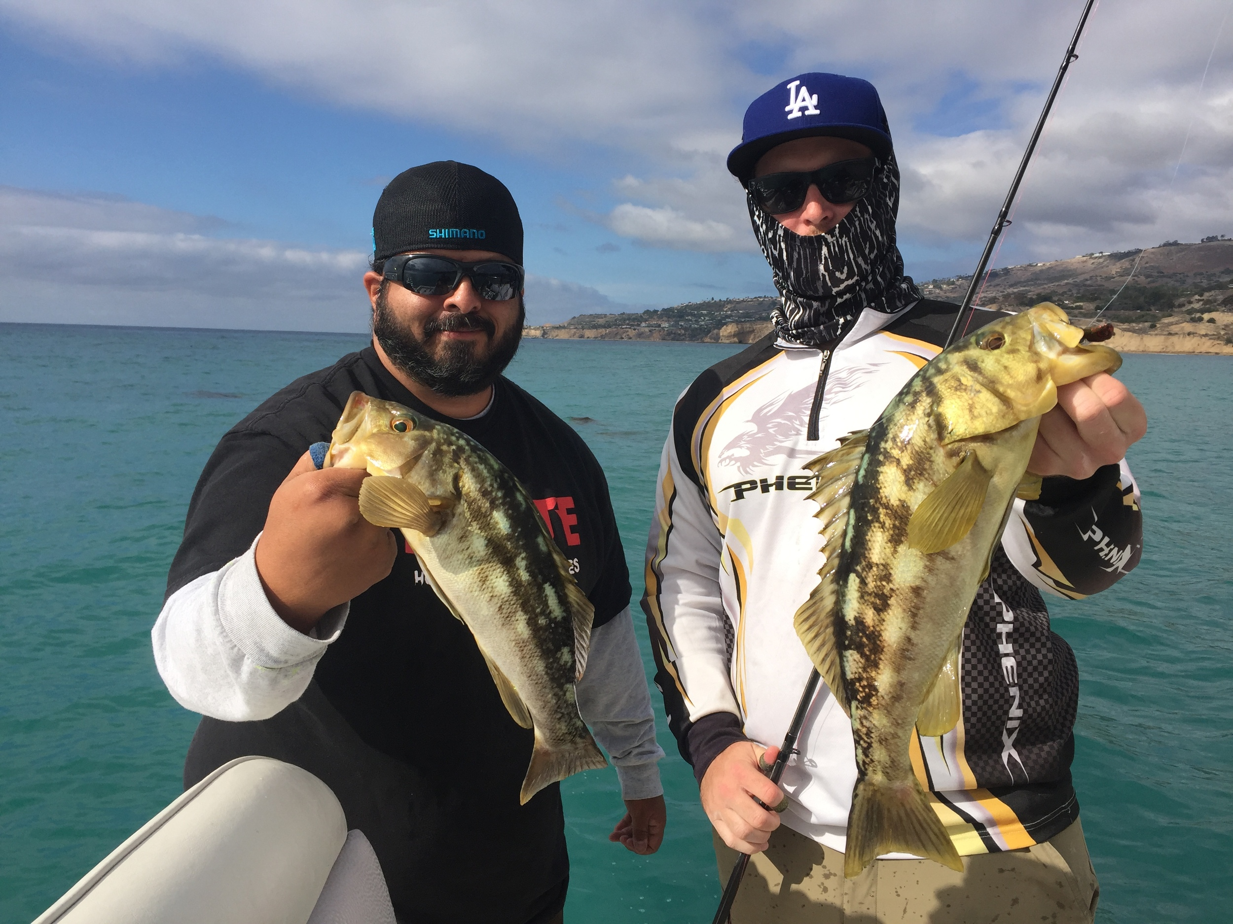 Diego and Jeff doubled up on local Winter Calico Bass at Palos Verdes!