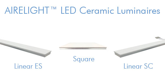 Airelight Luminaires are  plastic free , non toxic and have a  Red List Free Declare Label making them the most sustainable lighting available.  While virtually all other LED light sources use a plastic diffuser, Airelight Luminaires are uniquely designed to uniformly diffuse light with an all  ceramic diffuser.