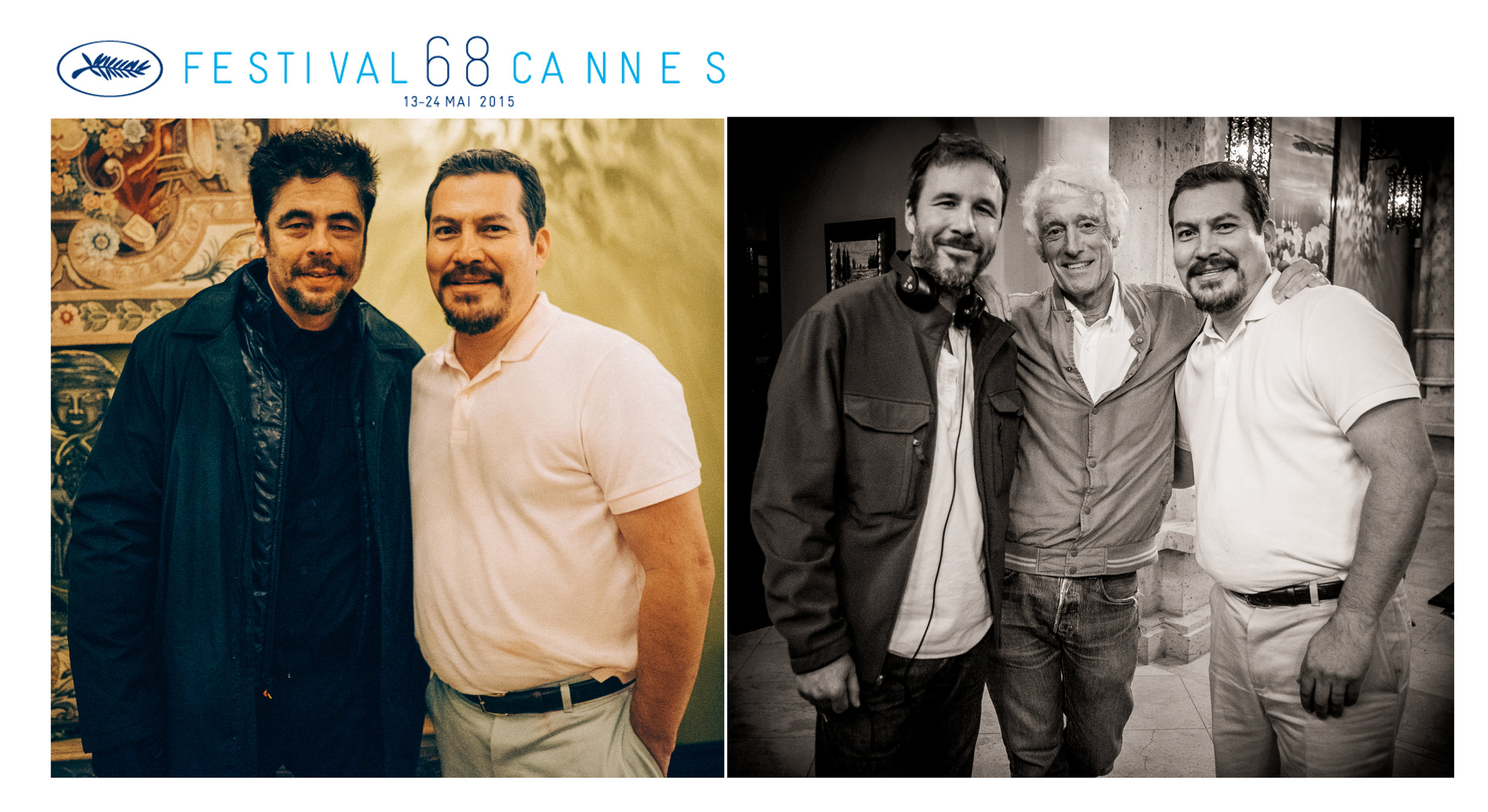 Julio César Cedillo with Benicio Del Toro, Denis Villeneuve and Roger Deakins.