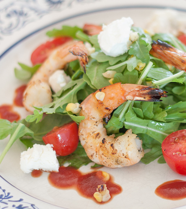 Grilled Shrimp Salad with Tomato Vinaigrette Recipe