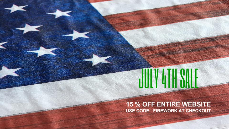 July 4th Sale- 15% Off Entire Website