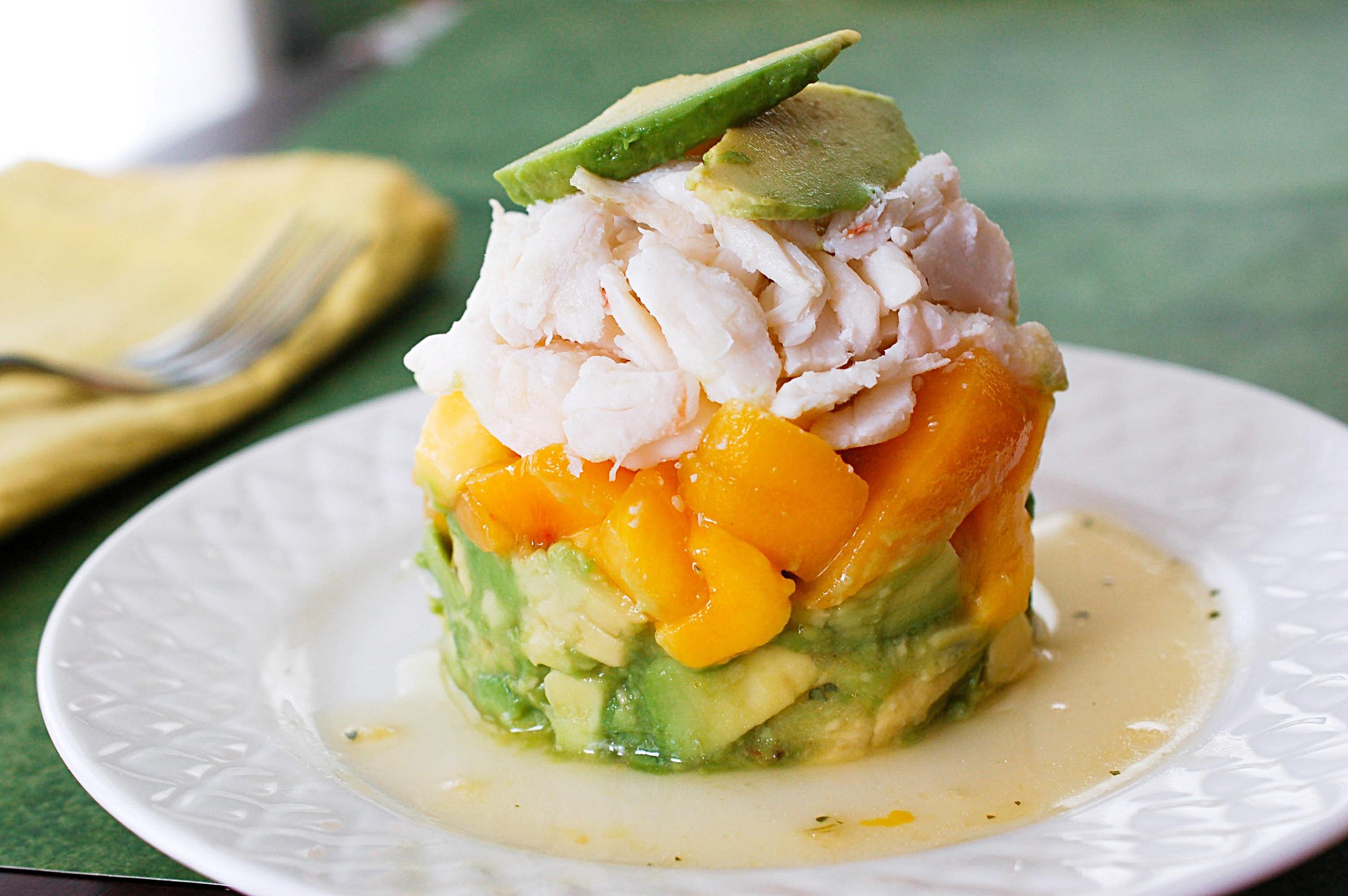 Stacked Crab Mango Avocado Salad Recipe