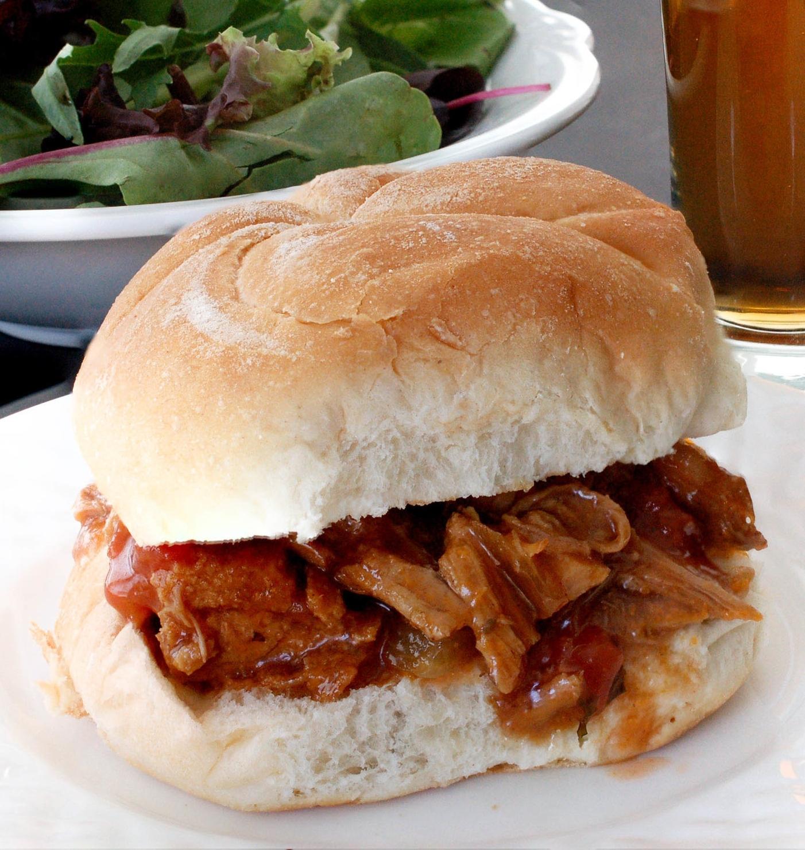 Slow Cooker Peach BBQ Pork Recipe