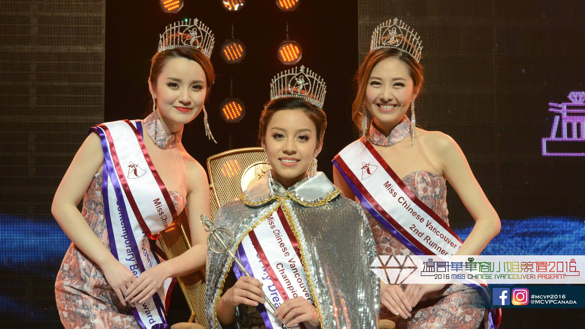 Winners of Miss Chinese Vancouver 2016  Winner Maria Rincon (C), first runner-up Prenda Wang (L) and second runner-up Sherry Xue pose for photos after the crowning cermony at the Miss Chinese Vancouver Pageant in Vancouver, BC, Canada