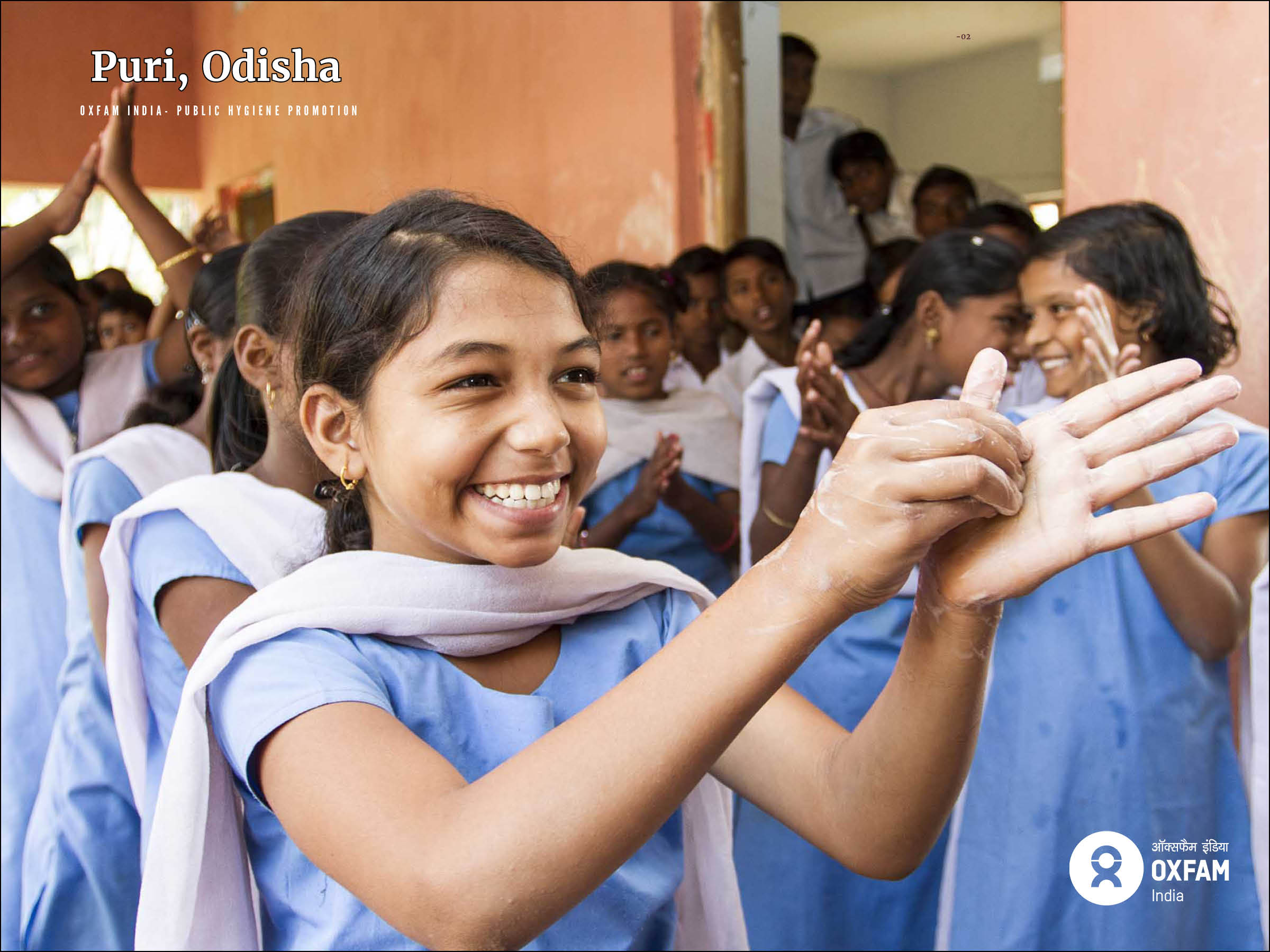 Oxfam India - Cyclone Phailin Response Programme:  Students at Gopinathpur School, Puri, engage with the Oxfam supported hygiene promotion campaign