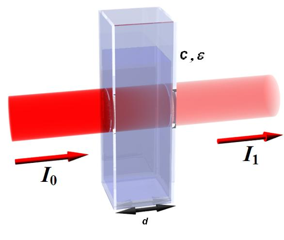 Absorption in a cuvette as described by the Lambert-Beer Law
