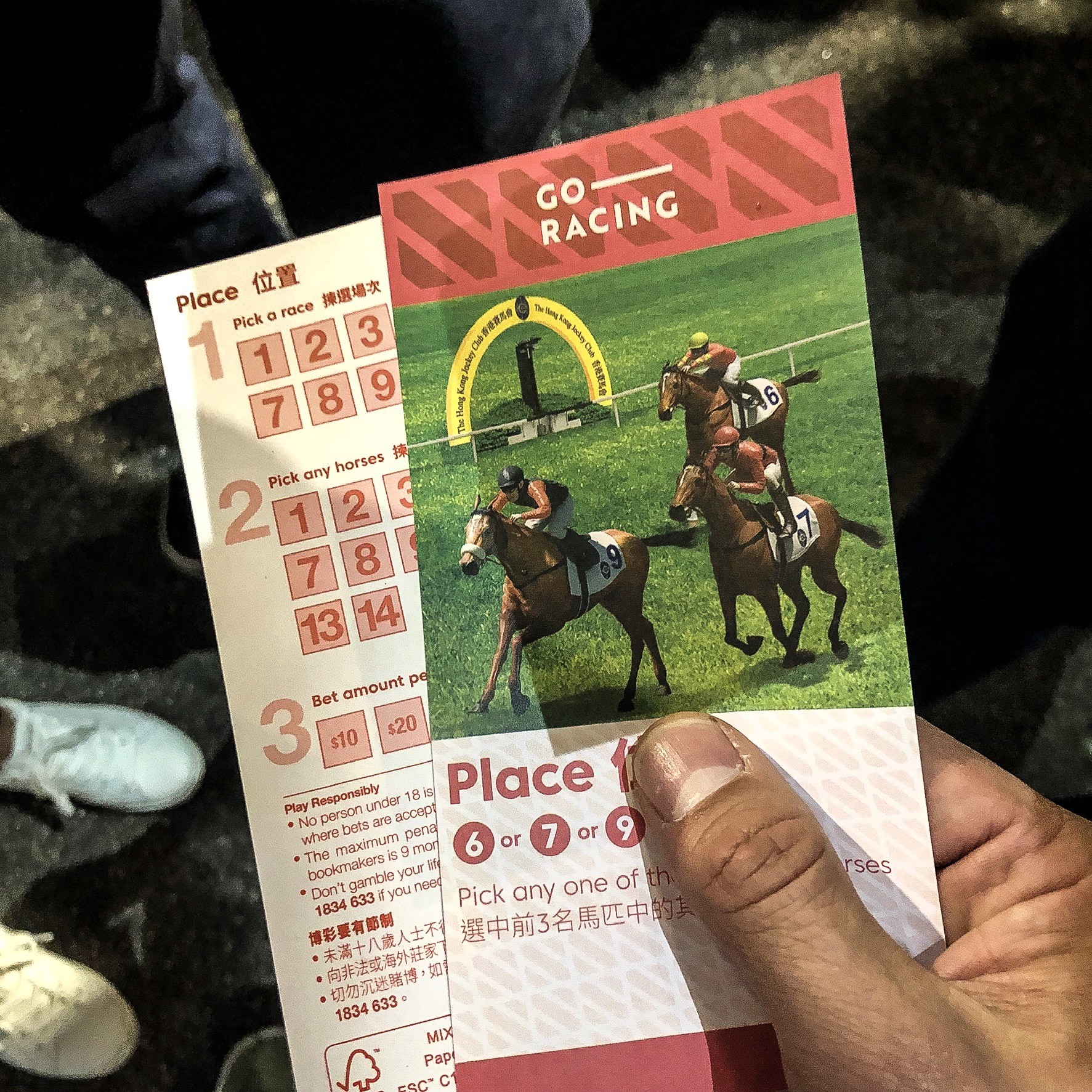Holding the betting form in my hands before the race. © JW Amsterdam