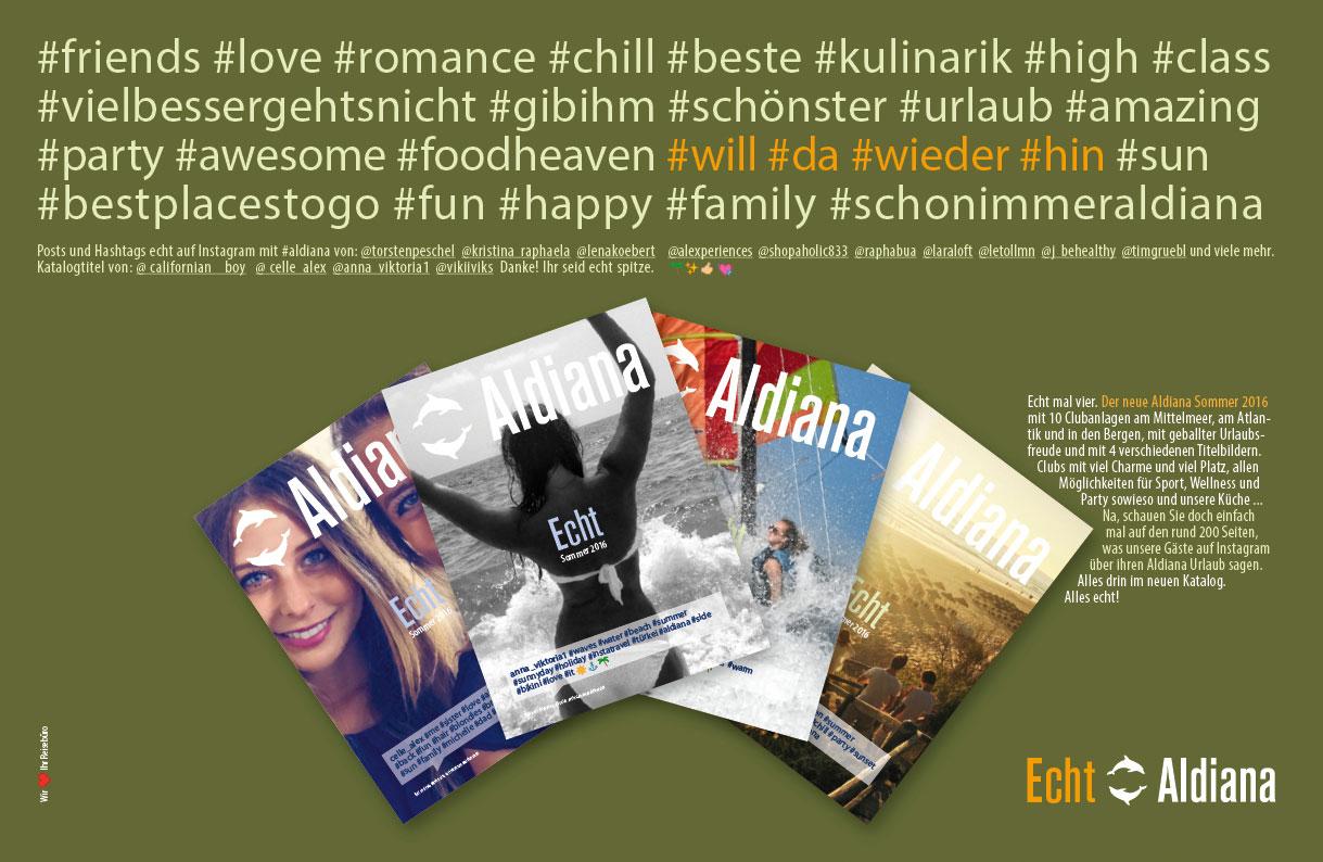 Echt Aldiana Fachanzeige Neue Kataloge Sommer 2016 FVW, Travel One, Touristik Aktuell