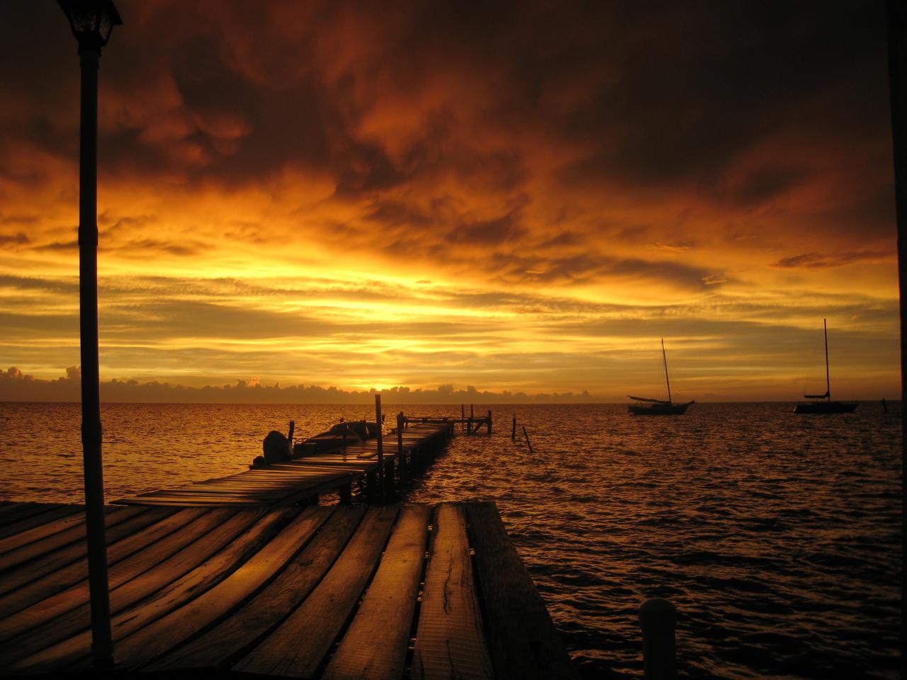 Sunset at Neil & Molly's Pier, Caye Caulker, Belize, CA