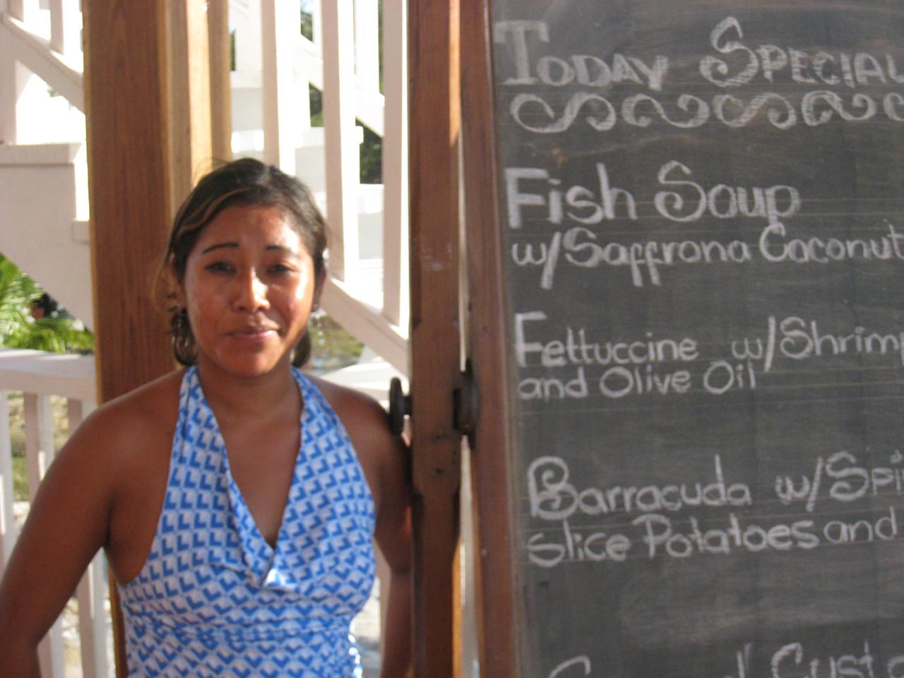 Seafood Specials at Driftwood Lodge, Caye Caulker, Belize