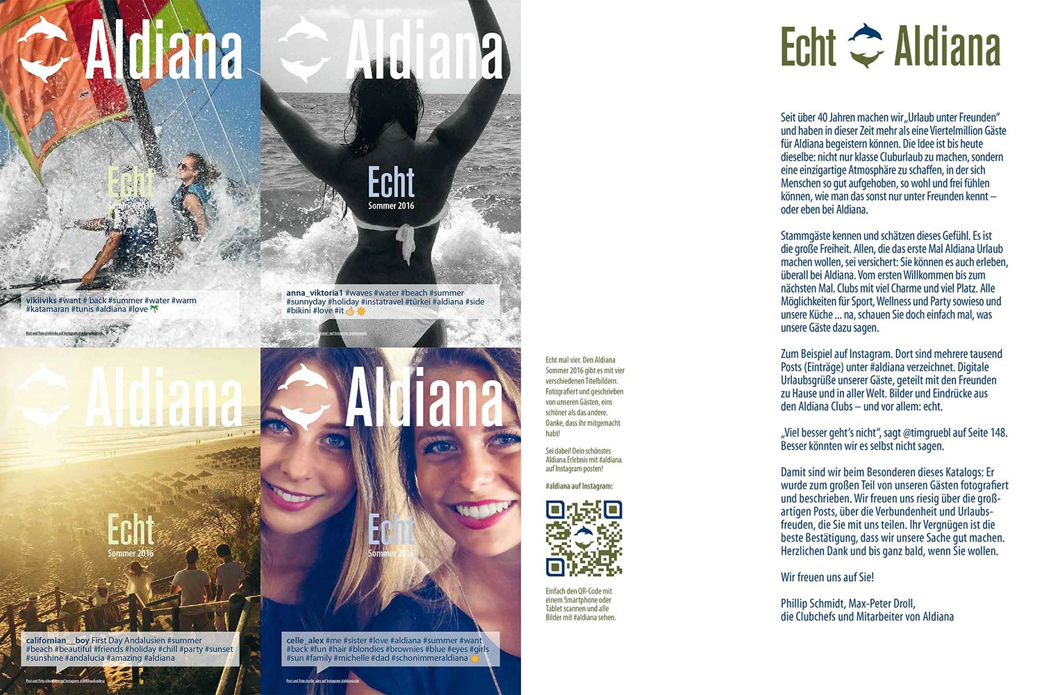 Letter of the President Echt Aldiana Katalog Sommer 2016 Instagram