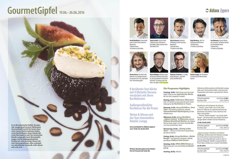 Gourmetgipfel Echt Aldiana Katalog Sommer 2016 Instagram