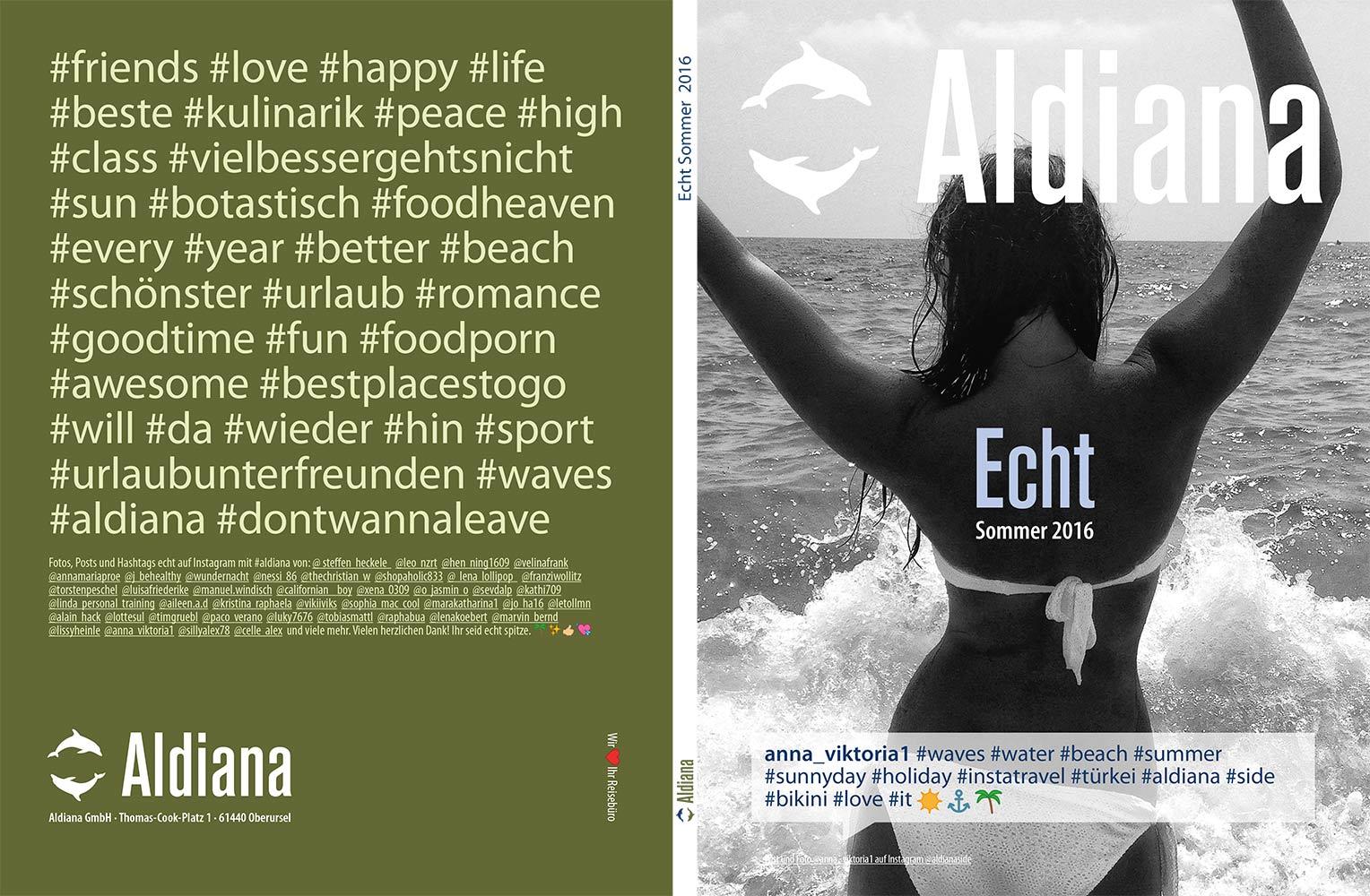 Umschlag Titel Rücktitel Echt Aldiana Katalog Sommer 2016 Instagram
