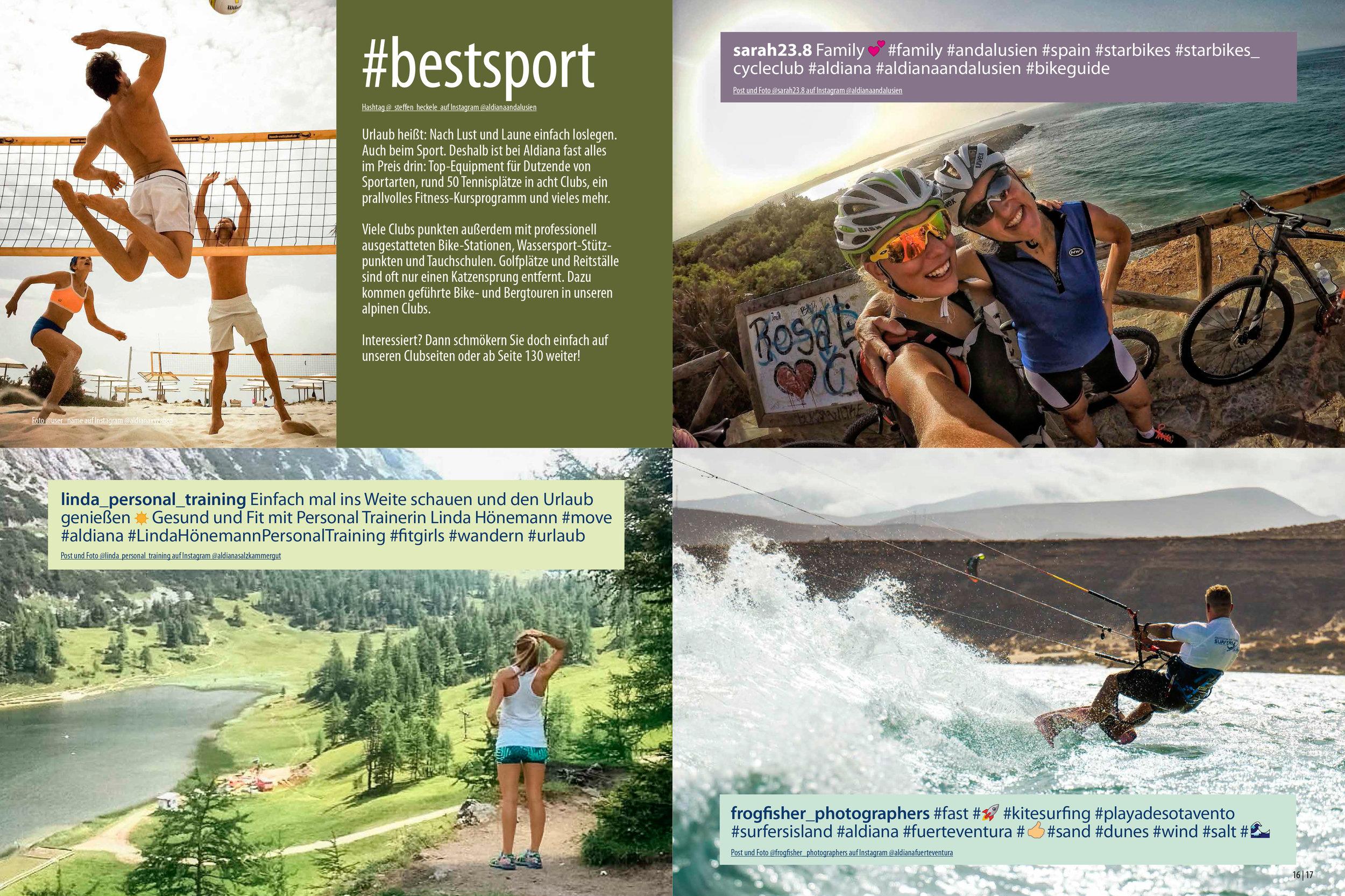 Aldiana Katalog Sommer 2017 Markensäule Sport