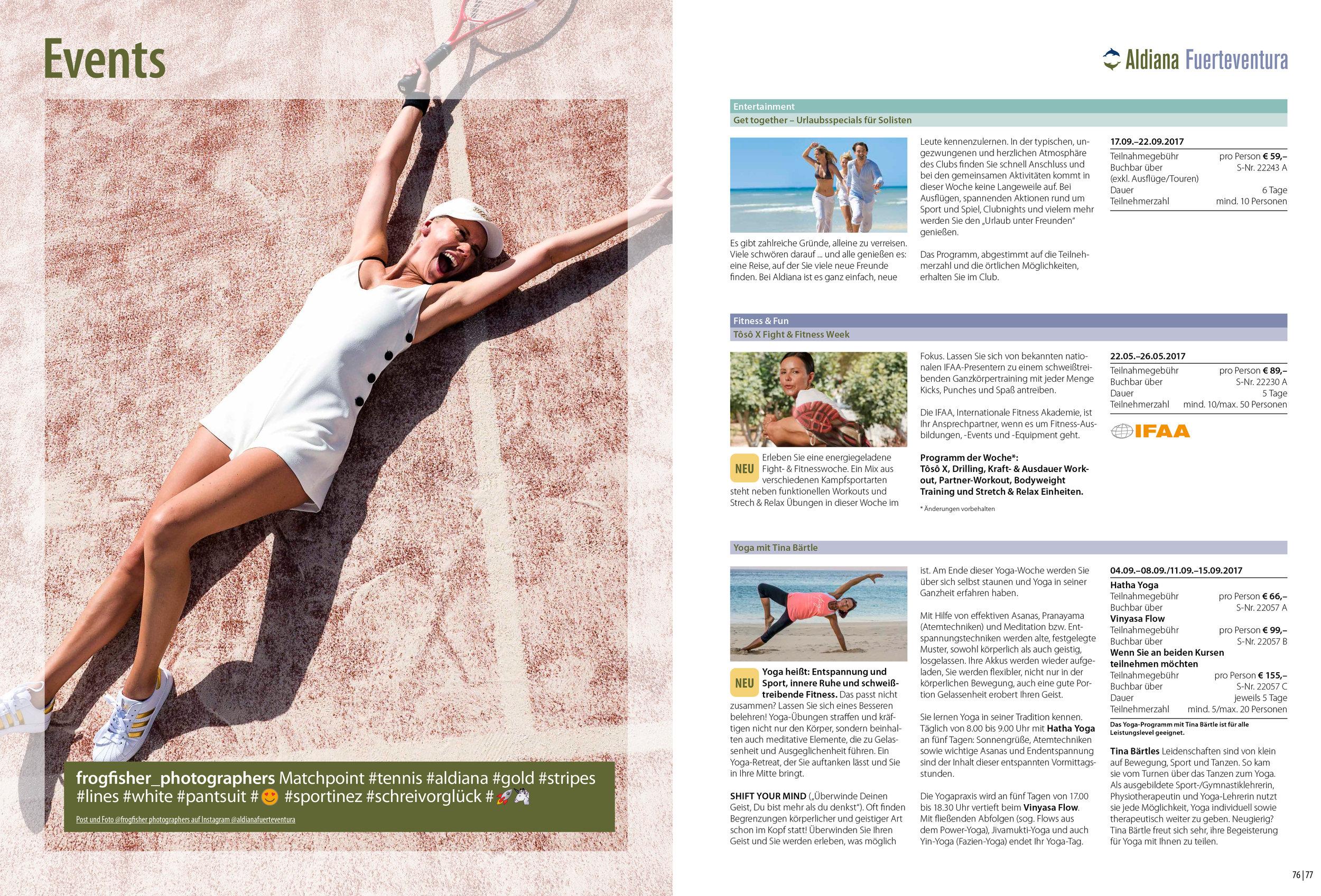 Aldiana Katalog Sommer 2017 Club Fuerteventura Events Tennis