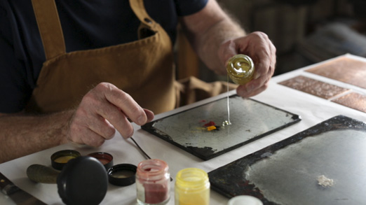 Michael Phillips mixing historic pigments with linseed oil